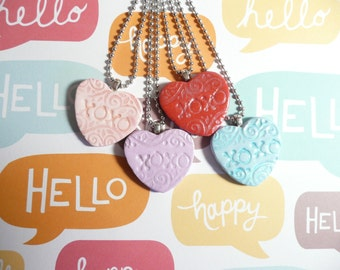 Conversation Heart Pendant, Candy Heart Necklace, Heart Jewelry, XOXO hugs and kisses, I Love You, Handmade Polymer Clay
