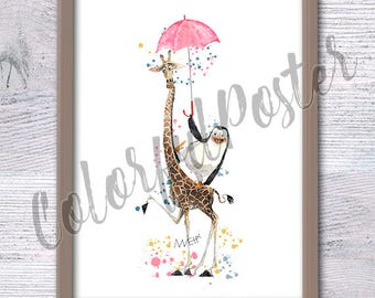 Giraffe and Penguin Madagascar, Funny animal art, Kid room, Nursery décor, Animal with Umbrella, Babyshower, Comic Poster, Crazy animal, V67
