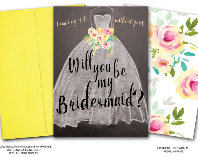 Will you be my Bridesmaid? // Bridesmaid Proposal // Chalkboard // Floral // Watercolor // Yellow // Pink // Pastels // MILAN COLLECTION