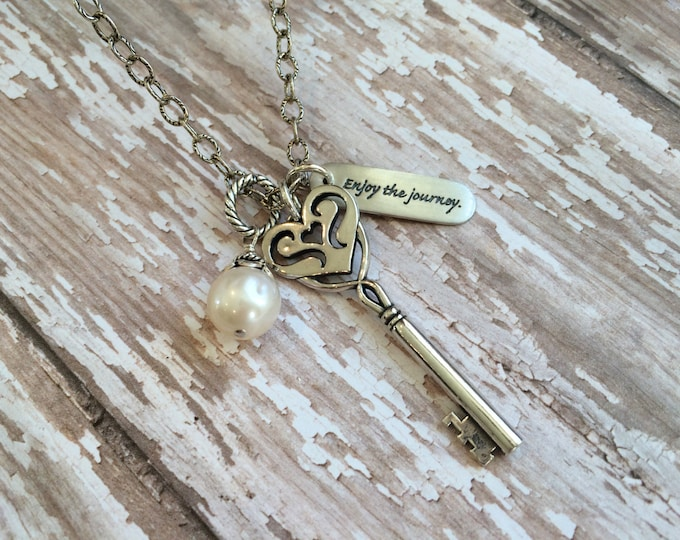 Silver Key Pendant Necklace--Long Oxidized Silver Chain with Pearl and Silver Charms