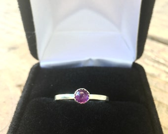 Silver ring with AA grade purple amethyst