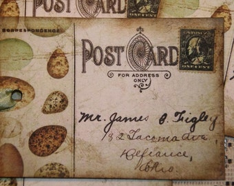 Vintage Altered Art Post Card Gift Tags