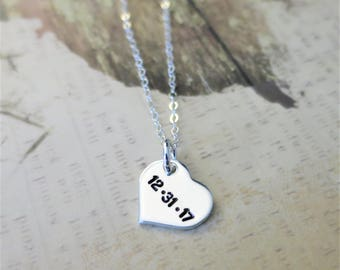 Custom Date Necklace / Personalized Date Jewelry / Anniversary Jewelry / Sterling Silver Heart / Gift for Wife / Gift for Girlfriend