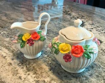 Cream & Sugar Tea Serving Set Sculpted Peach and Yellow Rose Design Porcelain Creamer and Sugar Bowl Grace's Teaware, Item #574332484