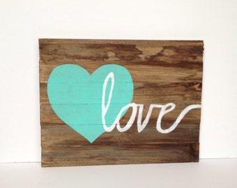 Heart/Love - Wood Sign, Gift, Nursery Decor, Home Decor, Wall Decor, Bedroom, Playroom Decor, Gallery Wall