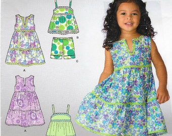 Little Girl's sundress, pullover top and shorts patterns in sizes Toddler 1/2 - 4  Simplicity 2427  UNCUT & FF (2010)  K0497