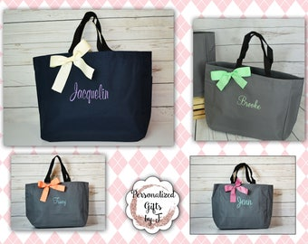 Set of 11 Bridesmaids Gift Tote Bags Personalized Tote, Bridesmaid Gift, Monogrammed Tote, Bridal Party Gift, Embroidered Tote, MOH Gift