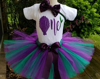 Mermaid Birthday Tutu Set, Seashell Birthday Tutu Set, Purple and Green Birthday Tutu Set
