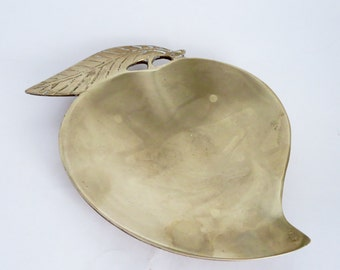 Vintage Brass Fruit Shaped Dish - Small Brass Home Decor Trinket Tray Catch All Dish