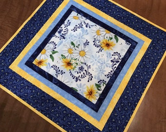Quilted table topper, Blue daisy, candle mat, modern table runner, Quiltsy handmade, Item #364
