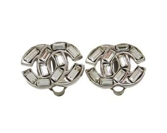 Authentic Vintage Chanel earrings CC logo rhinestone ea1548