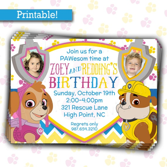 Pup patrol birthday party invitation twins or siblings joint pup patrol birthday party invitation twins or siblings joint birthday diy printable picture invitation filmwisefo Gallery