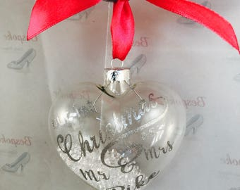 Mr and mrs, christmas bauble, first christmas, tree decoration, personalised bauble
