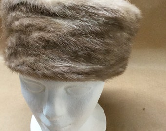 Fur Pillbox Hat Retro Fur Hat Fifties Mad Men Jackie O Style Hat