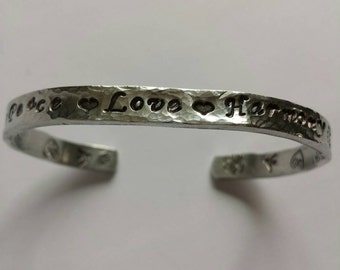 PEACE LOVE HARMONY~ Hand Stamped Personalized Custom Name Initials Gotcha Day Quote hammered Aluminum Cuff Bracelet
