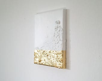 Modern contemporary gold white painting on canvas G15