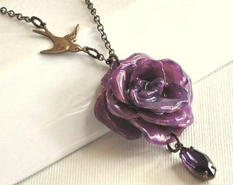Real Purple Rose Necklace - Bird, Natural Preserved,  Brass