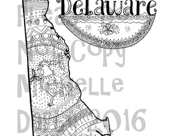 Delaware State Colouring Page