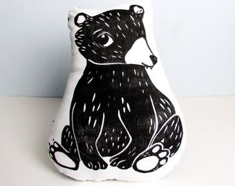 Bear Shaped Animal Pillow. Woodblock Printed. Made to Order. Choose Any Color.