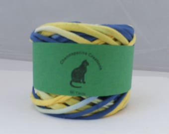 Hand Dyed Yarn, Blue/Yellow 60 Yards, Cotton Jersey Yarn, Team Colors