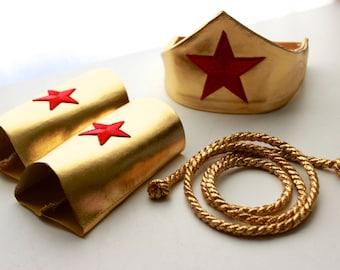 Sugarpuss WONDER WOMAN ACCESSORY Set, Gold Lasso, Crown w Star, Star Cuffs, Wonder Woman, Metallic Gold Cuffs, Crown Headband, Red Stars