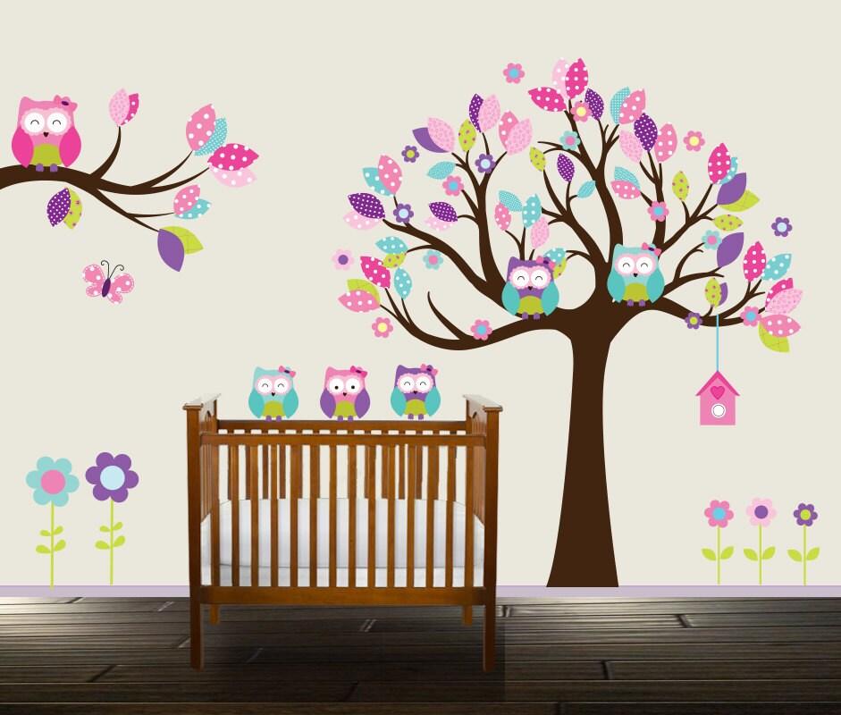 Eule Wandtattoo Blumen Kinderzimmer Aufkleber Mädchen