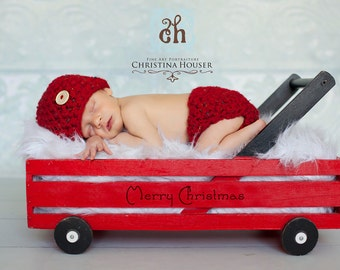 Santa's Little Helper Red Diaper Cover Hat Set