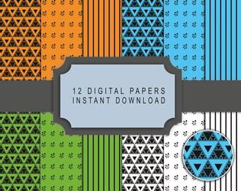 Pack of 12 textures paper patterns digital sierpinski triangle fractal print quality scrapbooking instant download diy