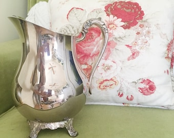 Vintage Mid Century FB Rogers Silver Compny Drink Pitcher With Ice Catcher -- Cottage Home Decor -- Shabby Chic Decor