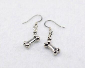 Silver Dog Bone Earrings - Silver Bone Earrings, Silver Dog Jewelry, Silver Dog Earrings