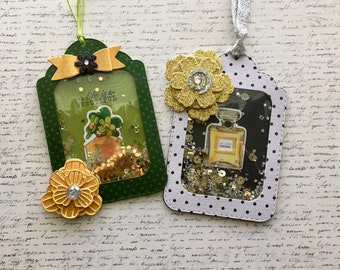 Set of 2 Fun and Glitzy Glam Large Shaker Tags for Journals, Planners or Gift Tags
