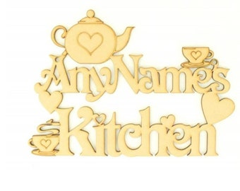 Personalised Kitchen Sign With Teapot & Teacup