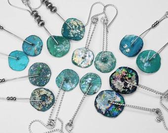 Roman Glass Earrings in Silver, Choice of 7