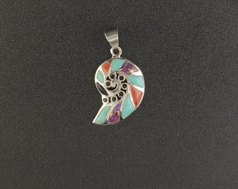Southwest Inlay turquoise spiny oyster Swirl Snail sterling silver pendant