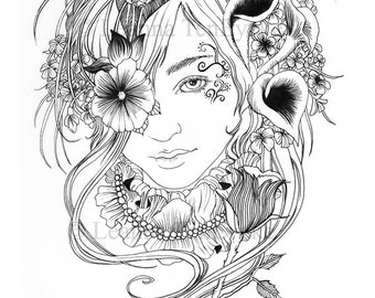 colouring page blackflower maiden printable digital download pdf colour your own line art