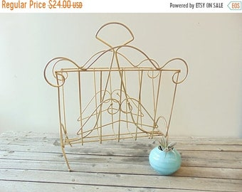 CLEARANCE Vintage Mid Century Magazine Rack, Gold Tone Wire Record Holder, Scroll Design, Top Handle