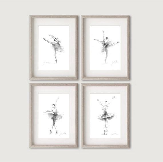 Set of 4 Prints Ballerina Art Ballerina Prints Sketch of