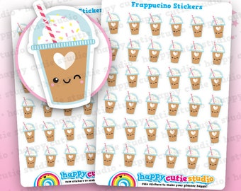 36 Cute Frappe/Frappuccino/Iced Coffee Coffee Cup Planner Stickers, Filofax, Happy Planner, Erin Condren, Kawaii, Cute Sticker, UK