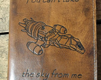 Handcrafted Leather Firefly Journal Cover, refillable journal