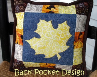 """Yellow Maple Leaf Quilted Denim 10"""" Toss Pillow made with recycled denim jeans"""