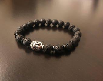 Black buddah lava rock hematite 8mm natural stone bracelet