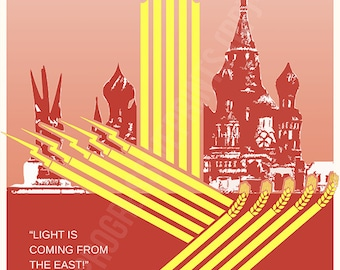 Poster, Joseph Stalin, USSR, Light is Coming from the East