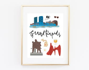 Grand Rapids Art Print, Illustrated Grand Rapids Decor