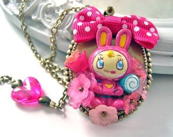 Pink Bunny Kawaii Necklace Girl Kawaii Lolita
