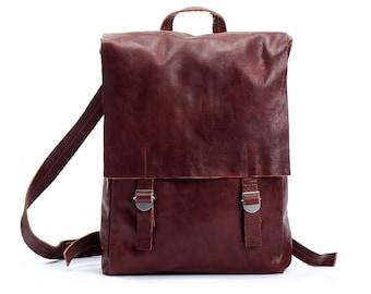 cuir marron cartable sac à dos - cartable Marron - cuir marron sac à dos en cuir - sac à dos en cuir souple - ordinateur portable sac à dos cuir - SASBPL