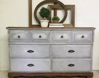 Gray Dresser, Distressed Vintage 6 Drawer Solid Wood Grey Bedroom Storage,  Hand Painted Farmhouse
