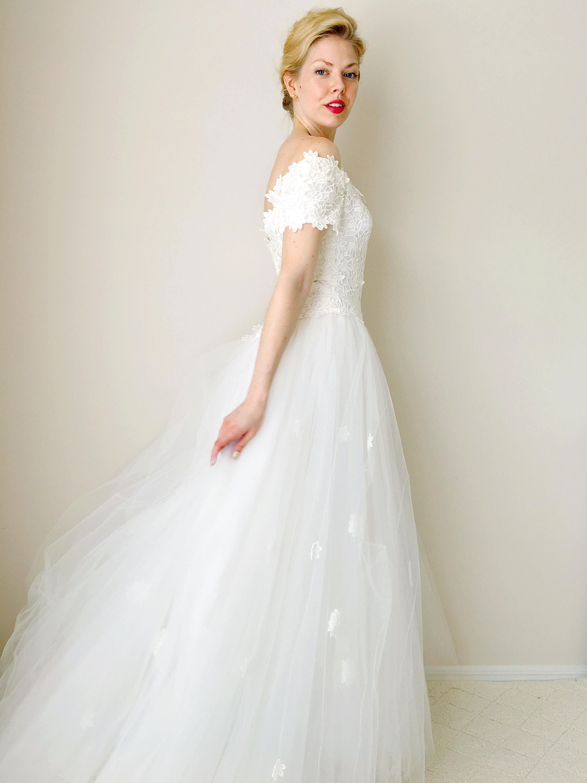 Vintage Hochzeitskleid Tüll Rock Brautkleid häkeln Mieder