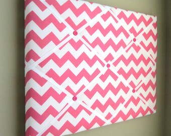 "16""x20"" French Memory Board or Bow Holder, Ribbon Board, Photograph Organizer, Vision Board, Hot Pink Chevron"