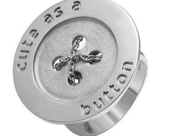 "ON SALE Button Ring ""Cute As Button"""