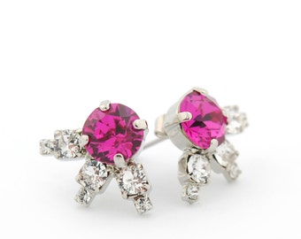 Rhinestone earrings - pink stud earrings - crystal post earrings - costume jewelry - fuchsia rhinestone earrings - Swarovski crystal